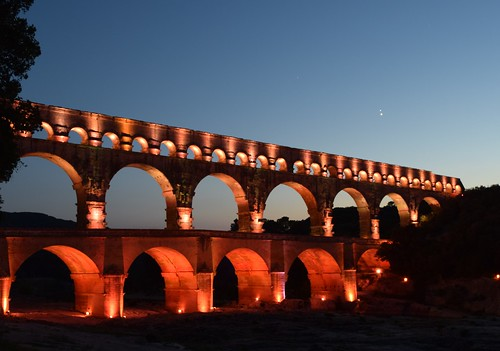 Jupiter and Venus over the Pont du Gard | by helen@littlethorpe