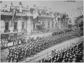 Vladivostok, Russia. Soldiers and sailors from many countries are lined up in front of the Allies Headquarters Building.