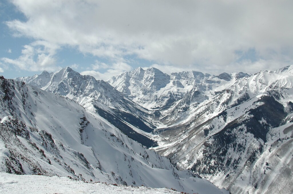 Pyramid Peak And Maroon Bells From Top Of Aspen Highlands