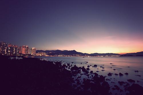 "sunset hongkong nikon voigtlander kai 20mm 365 sha 日落 d700 烏溪沙 ""wu"