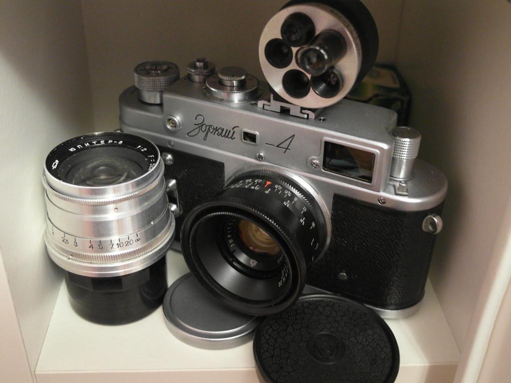 Zorki 4 rangefinder camera w/ Jupiter 8 & Jupiter 12 & uni