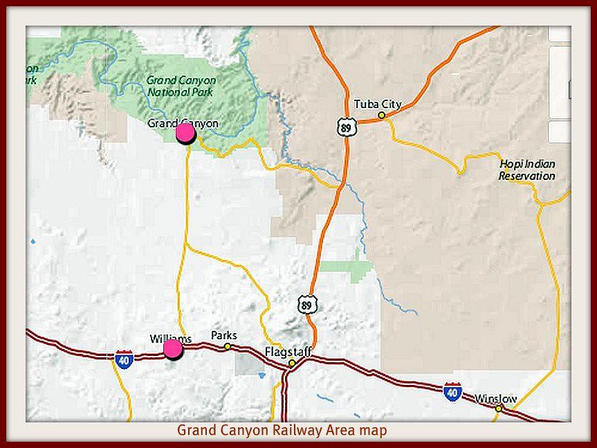 Grand canyon railway group area map | For Grand canyon railw ...