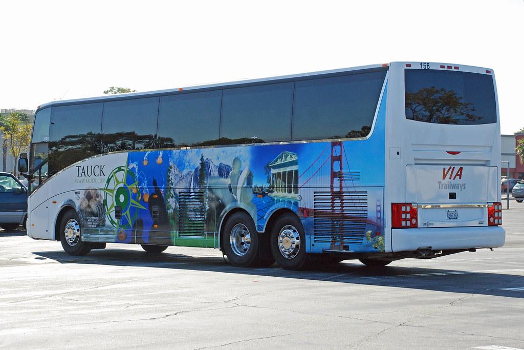 Tauck Tours | Via Trailways VanHool bus parked in Long Beach