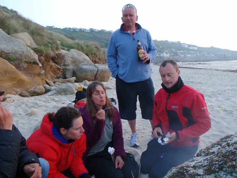 Fri, 2011-04-29 20:06 - From right, Tony, Loz, Zoe, Jo and Doug.  Tony is enjoying a hot banana (with chocolate chips).