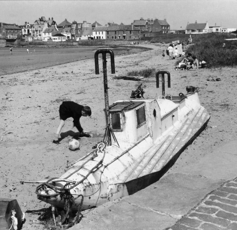 Small submarine on the beach at Elie, Fife, 1967   The small
