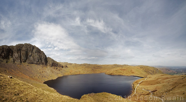 Royal Wedding escape plan….. Stickle Tarn & Pavey Ark Panorama, seen from half way up Harrison Stickle.