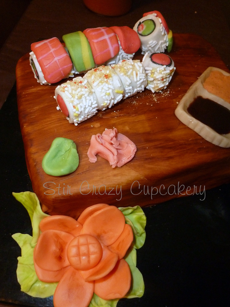 Peachy Sushi Birthday Cake 2 Fondant Sushi Covered Cake Flickr Personalised Birthday Cards Veneteletsinfo