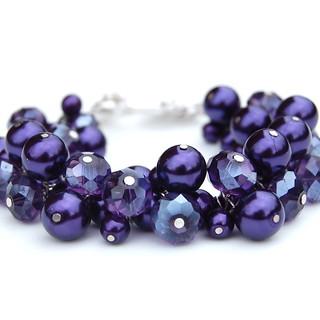 Royal Purple Pearl and Handcut Crystal Cluster Bracelet