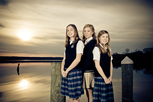 blue school girls sunset portrait beautiful smile face hair evening pier eyes catholic sony maryland skirt highschool blonde alpha middleschool unifrom mattingly leonardtown 2011 dslra700 gregoryhughdavidson ghdphotographydesign