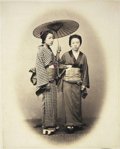 Two women with parasol, Japan | by National Library NZ on The Commons