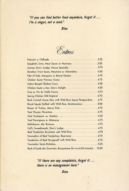 dino's lounge menu entrees may 1959