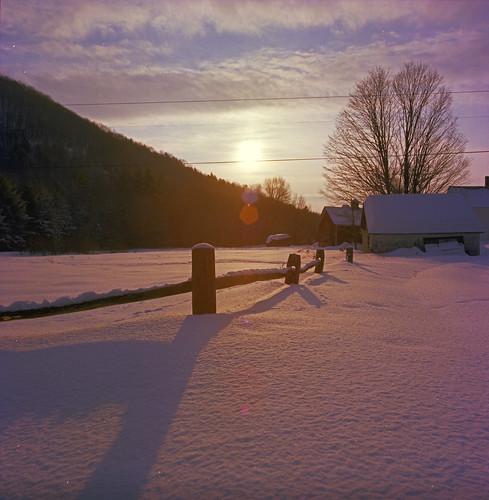 winter sunset snow vermont