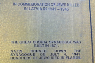 Plaque at Former Synagogue - Destroyed by Nazis in 1941 - Riga - Latvia