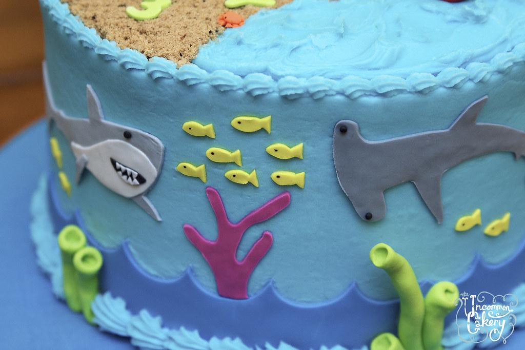 Beach & Shark-Themed Birthday Cake   8-inch chocolate cake w