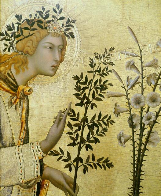 Simone Martini & Lippo Memmi - Annunciazione, detail archangel Gabriel