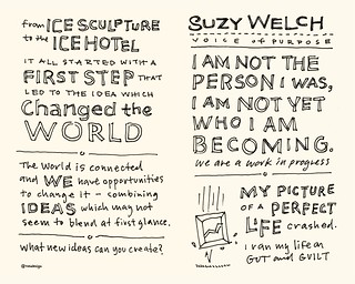 Chick-Fil-A Leadercast Sketchnotes 21-22 - Frans Johansson / Suzy Welch | by Mike Rohde