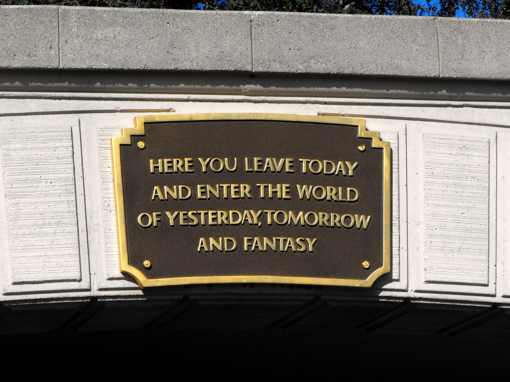 Walt Disney quote above Disneyland entrance tunnel | Flickr