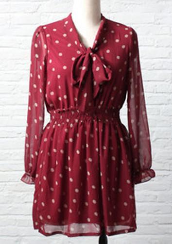 Feminine Polka Dots Chiffon Long Sleeve Dress