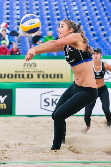 Womens beach volleyball on St Kilda beach in Australia
