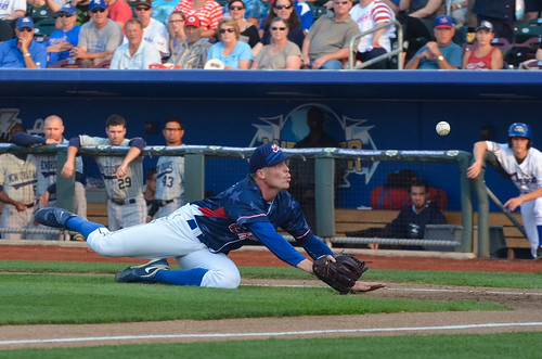 Buddy trying to glove-flip a ball home after a bunt was laid down | by Minda Haas Kuhlmann