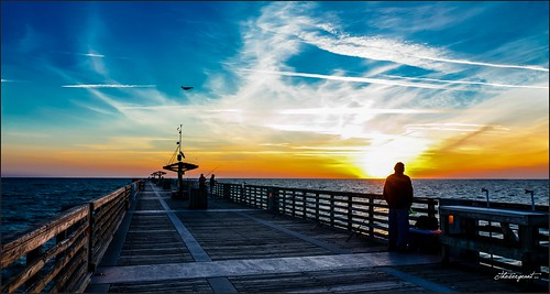 jacksonville pier florida blue beach beachscape seashore skies colors clouds walking waterways urban unitedstates travelling