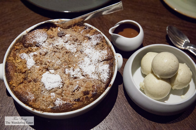 Sesaonal cobbler for two, black pepper cajeta, triple vanilla goat's milk ice