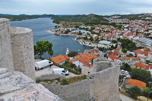history architecture town travels view croatia fromabove walls fortress šibenik szybenik wall river