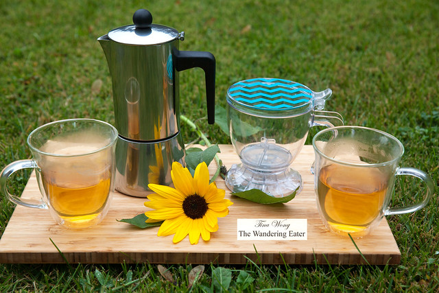 Bonjour 2-Piece Insulated Glass Latte Cup Set, 6-Cup Stovetop Espresso Maker, and single-serve tea brewer