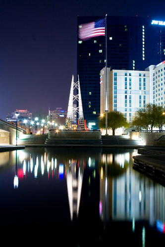 city urban reflection water night canon reflections dark hotel canal raw cityscape view indianapolis flag indy indiana americanflag nighttime april 1855mm usflag 30d donaldlipski 2011 jwmarriott canoneos30d eoes indykaleu