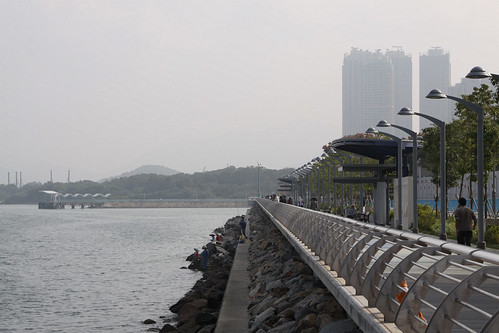 Apartment blocks tower over the Ma On Shan Promenade