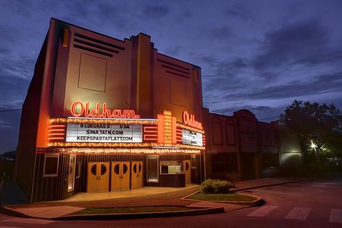oldhamtheater neon sunset dusk partlycloudy sky theater americanasparta whitecounty tennessee tn exposureporn rexposureporn uppercumberland spartahistoricdistrict