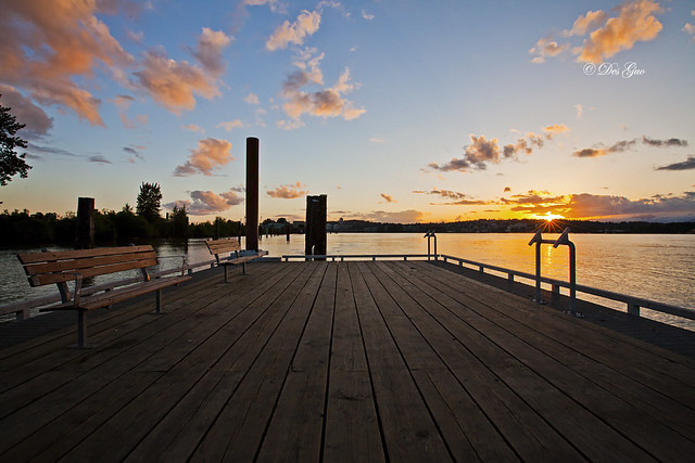 Fraser River, Fishing Pier and Sunset