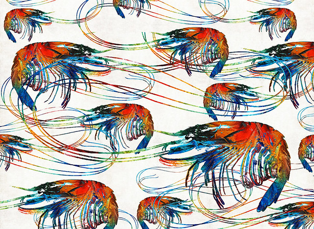 Colorful Shrimp Collage Art By Sharon Cummings