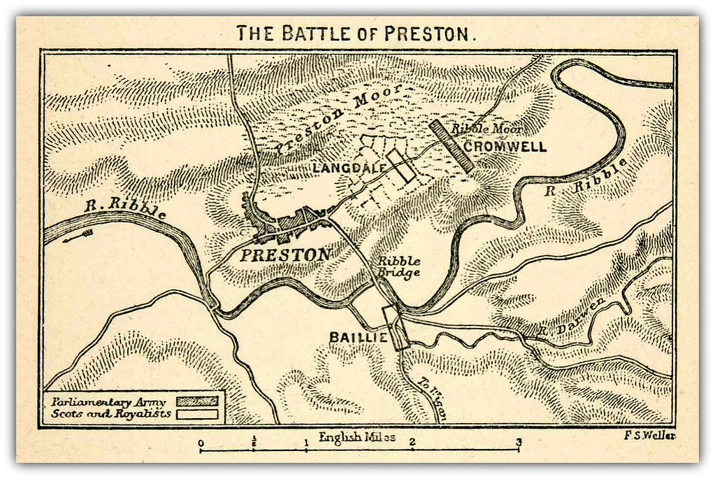 Map The Battle Of Preston August 17th 1648 By F S Wel
