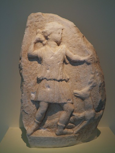 Votive stele in relief portraying Artemis, at her feet a dog is attacking a deer, 2nd-3rd century AD, Philippi Museum