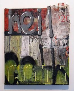 Zavier Ellis 'Heil Gothica', 2016 Oil, acrylic spray paint, acrylic marker, electrical tape, PVA, street posters on linen 30x25cm