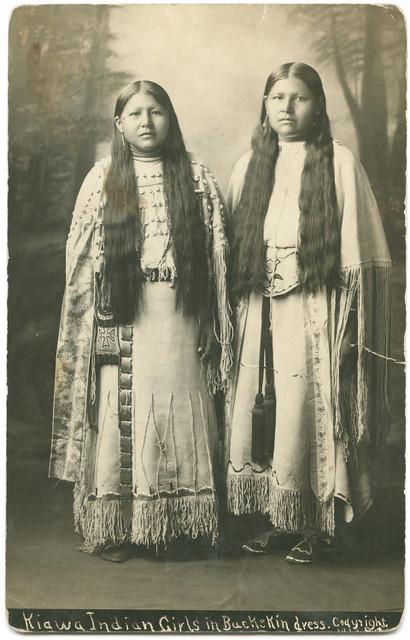 Kiawa [sic] Indian Girls in Buckskin dress