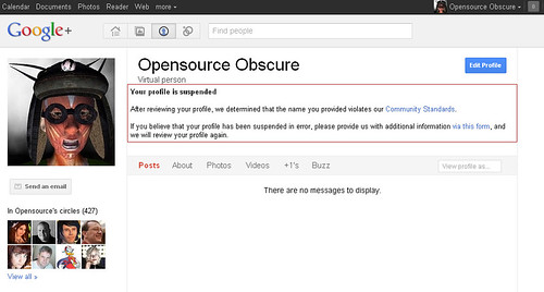 My Google+ Profile has been suspended because I'm using my Second Life avatar identity   by Opensource Obscure