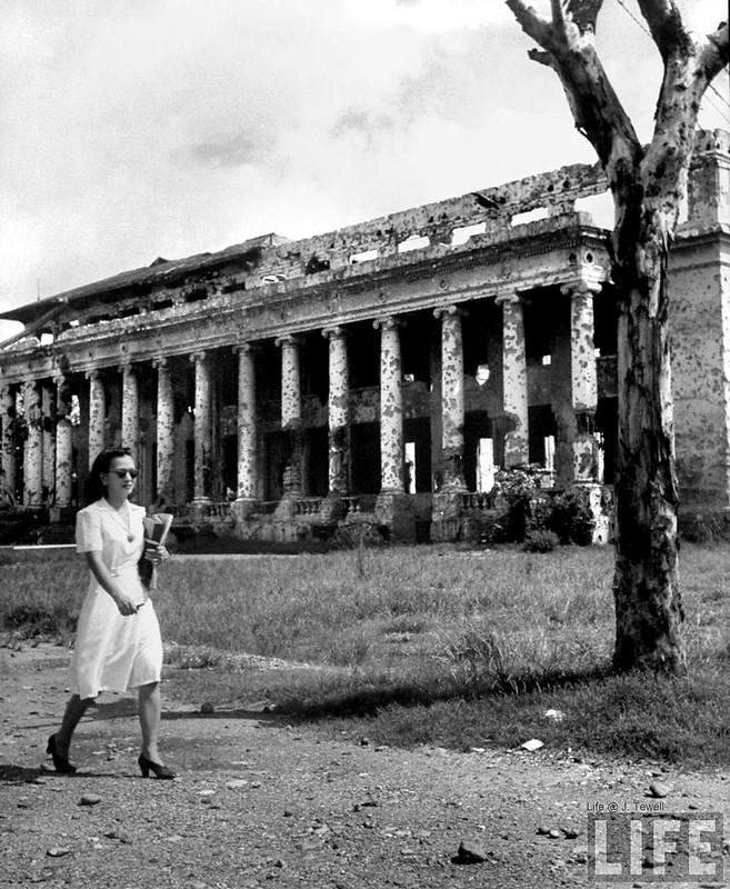 University of Philippines campus building showing war damage, Manila, Philippines, July 1946