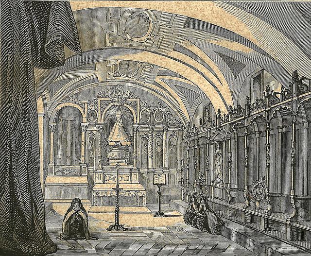 """Ávila. Convento de La Encarnación. """"Coro superior donde rezaba Santa Teresa""""."""