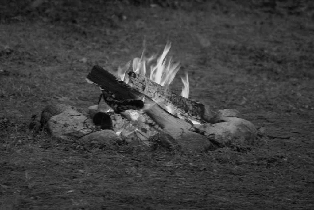 Camp fire (b&w)