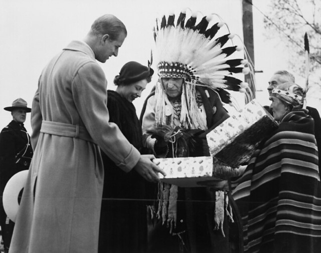 Princess Elizabeth And Prince Philip At The Indian Village