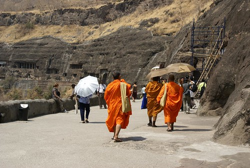 Buddhist monks at Ajanta rock temples | by Joe Lewit