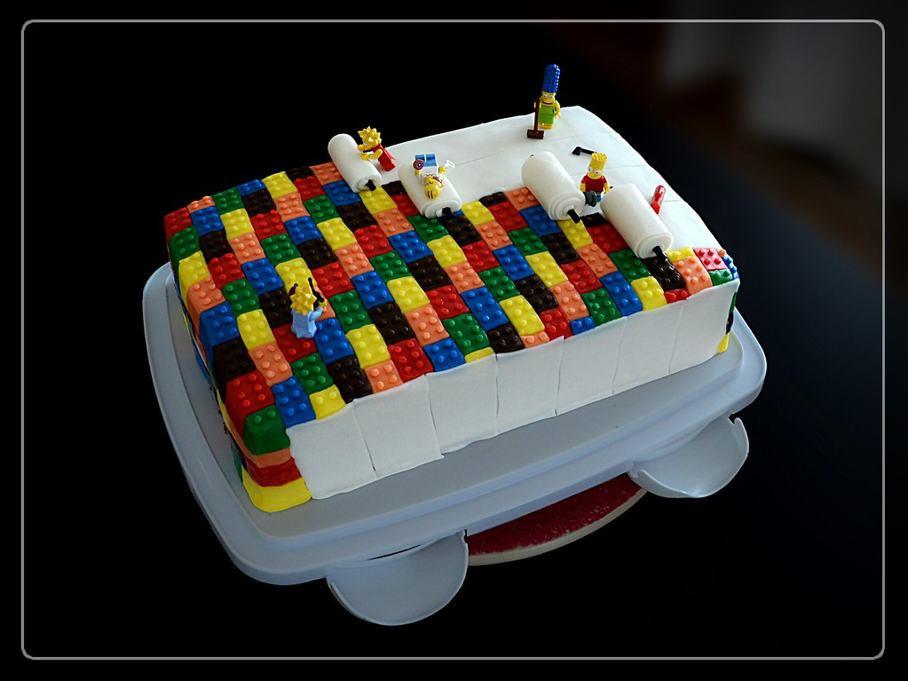 Tremendous Lego The Simpsons Birthday Cake Jrgn Blk Flickr Funny Birthday Cards Online Alyptdamsfinfo