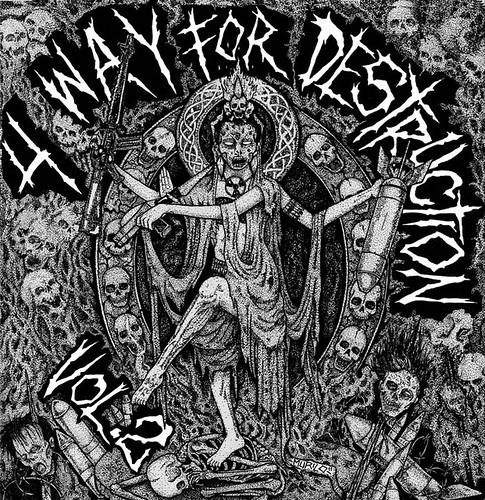4 WAY FOR DESTRUCTION II   (DARGE / DISGUST / DEATH FROM ABOVE / UNFIT SCUM )  CD  (KARASU036) | by Misoshiru of Death