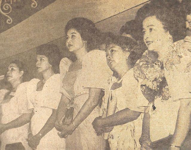 Ladies Gallery during President Macapagal's 3rd SONA. From left: Mrs. Estanislao Fernandez, Mrs. Constancia Tolentono, Mrs. Ferdinand Marcos, First Lday Evangelina Macapagal and Mrs. Cornelio Villareal.