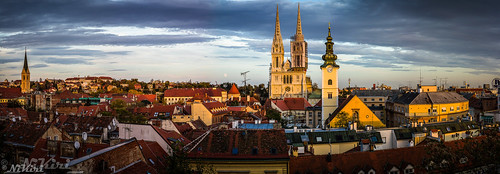 zagreb croatia sunset moon cathedral church tower roof evening sky sun cloud building twilight clock city europe weather wow beautiful beauty tranquil religion cityscape lunar