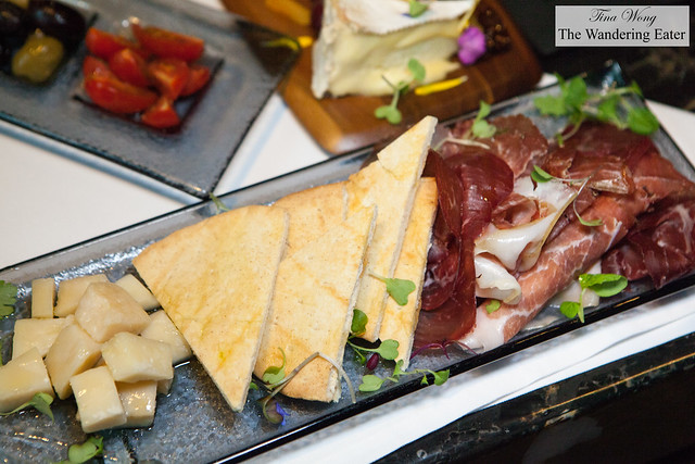 Farm plate - Charcuterie, cubed Parmesan drizzled in truffle oil and honey and toasted flatbread