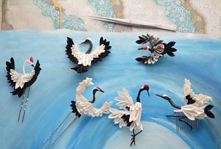 Handmade crane kanzashi.  Silk hairpins.