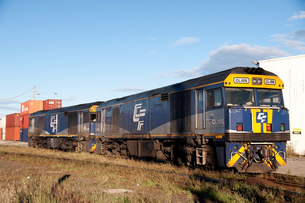 Sisters GL105 and GL109 wait patiently at Port Shipping Containers Terminal - Sydney by John Cowper